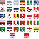 Feccile S-ports & Fit-ness 32 Countries Waterproof Tattoos Soccer Match Flag Stickers,32Pcs