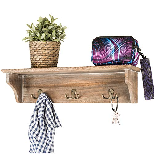 Handcrafted Rustic Wooded Wall Mounted Hanging Entryway Shelf, 6 hooks. 24
