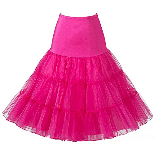Oyeahbridal Women Vintage 50s Tutu Skirts Petticoat Rockabilly Crinoline Underskirt, Hot Pink, Large ()