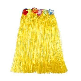 3b137cb83a138 Matissa Falda Hawaiana de Hula y Traje de Leis de Flores para Mujer Disfraz  de Luau de Dos Tallas Largo (60 Cm) y Corto (40 Cm) (Amarillo
