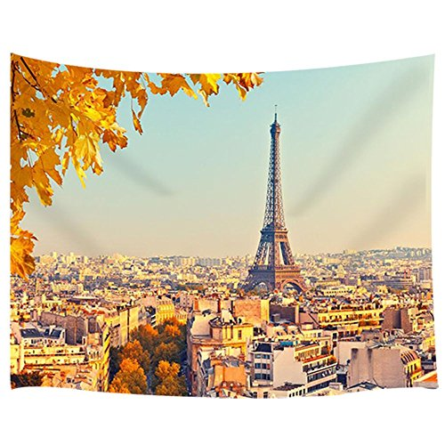 JAWO Eiffel Tower Wall Hanging Decoration Tapestry, Vintage Buildings Sycamore Tree Leaves Paris City Landscape Tapestry for Dorm Living Room Bedroom, Picnic Blanket Beach Towels Tapestry Home Decor ()
