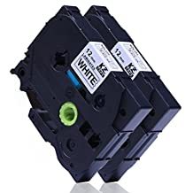 2 Cartridges P Touch Label Maker Tape Black on White TZe-231 Compatible for Brother PT-D200 PT-D210 PT-H100 PT-H110 PTD400AD PT-1290, 0.47 Inch (12mm) x 26.2 Feet (8m)