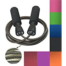 MAXSOINS Professional Adjustable Steel Wire Jump Rope with Carrying Pouch by Fitness Factor Ergonomic,Durable,Easy to Adjust Premium Jump Rope All Heights and Skill Levels