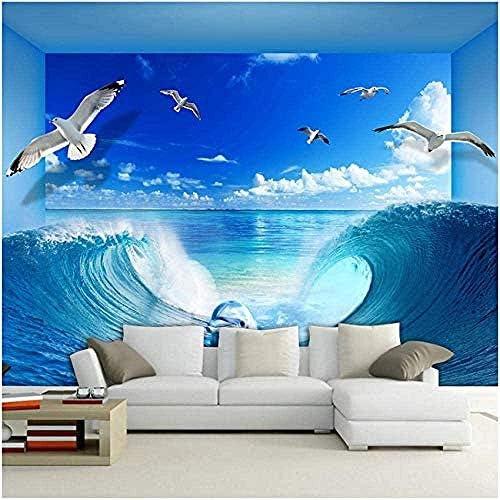 Ljunj 海の波イルカ自然壁画壁紙リビングルームテレビソファ家の装飾3Dベッドルームバスルーム家の装飾-280X200Cm