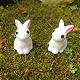 Mini Rabbit Garden Ornament Miniature Figurine Plant Pot Fairy Synthetic Resin Hand-painted Rabbit Decoration Kids Gift