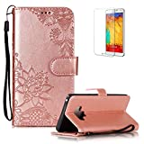 Funyye PU Leather Wallet Case for Samsung Galaxy Note 9 Free HD Protector,Premium Lace Flower Pattern Magnetic Flip with Cash Pouch Card Slot Design Cover for Samsung Galaxy Note 9,Rose Gold