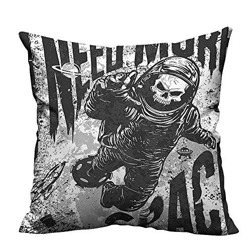 YouXianHome Decorative Couch Pillow Cases Skull in Spaceman Suit Over Background Dead Spooky Halloween Theme Grey Easy to Wash(Double-Sided Printing) 17.5x17.5 inch for $<!--$20.00-->
