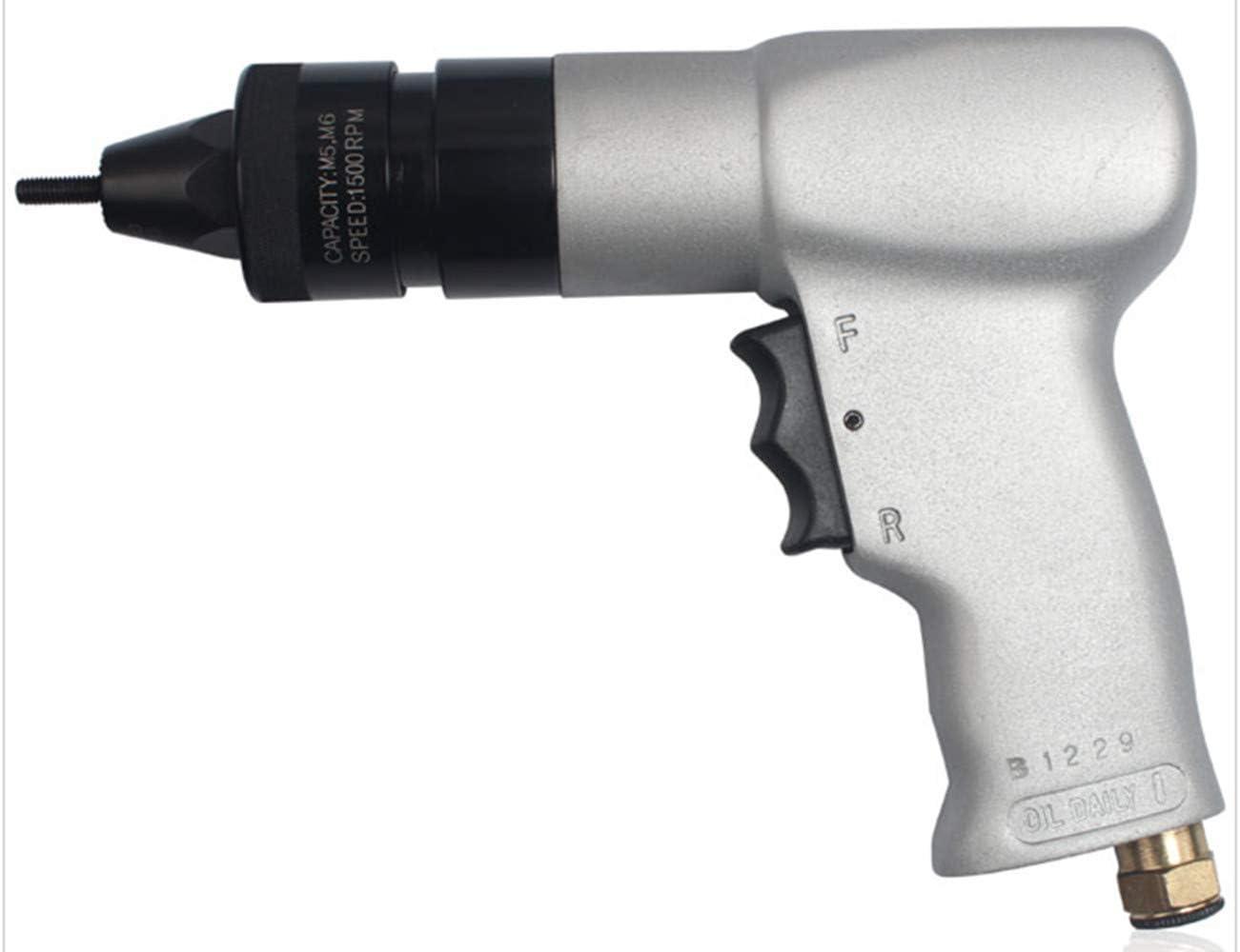 """HUAHUA Arma de remache neumática de Alta velocidad neumática Ajuste de tuercas Kit de aire de extracción de tuercas remachadora automática pistola con rosca en función de Joint Intake 1/4"""" (M5 M6 cabe"""