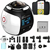 GBD Wireless 360 Degree Panoramic Camera 3D VR Live Video Full View Action Sports Camera with WiFi Waterproof 16MP 4K HD 0.96inch Screen 30fps 230° Large Lens Mini DV Player(White)