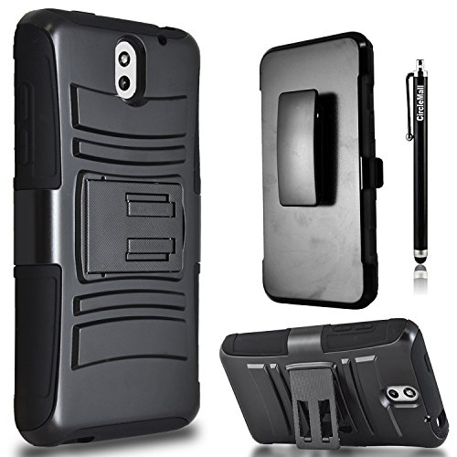 HTC Desire 610 Case, Combo Shell Cover Kickstand with Built-in Holster Locking Belt Clip+Circle(TM)Touch Screen Pen And Screen Protector-Black (Htc 610 Phone Screen)