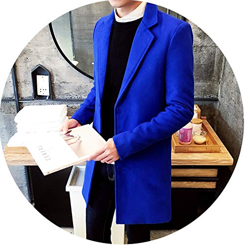 Winter Men's Casual Thicken Woolen Coat Business Coats Medium Long Jackets,Blue,XXL