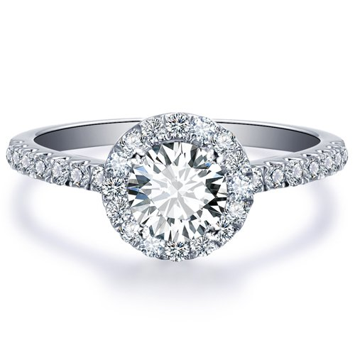 Round Cut Forever Brilliant Moissanite Engagement Ring and Diamonds 14k White Gold or 14k Yellow Gold Diamond Ring