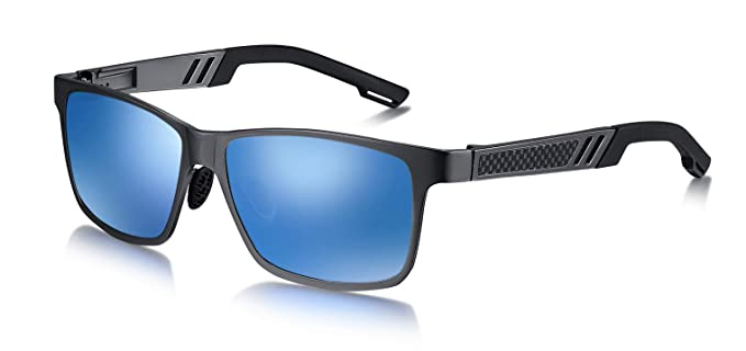WHCREAT Gafas de Sol Polarizadas de Conducción para Hombre con Montura Ultraligera AL-MG