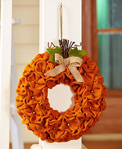 The Lakeside Collection Harvest Gatherings Burlap Pumpkin Wreath (Halloween Wreaths)