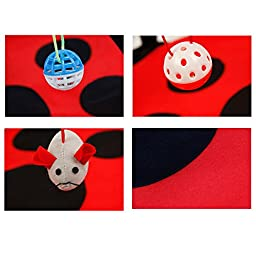 Cat Toy, PYRUS Cat Play Mat Activity Pet Kitten Padded Bed Cat Play Center with Hanging Toy Balls and Mice for Cats