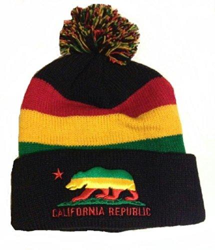 Rasta Reggae California Republican Stripe Beanie Hat Cap Pom Pom (Knit Stripe Hat Beanie)