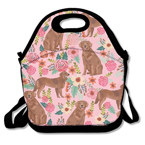 Women Adult Kids Golden Retriever Dog Lunch Box Container for School Work Office Outdoor Picnic Meal Prep, Quick and Simple Organization Gourmet Tote Pouch Handbag