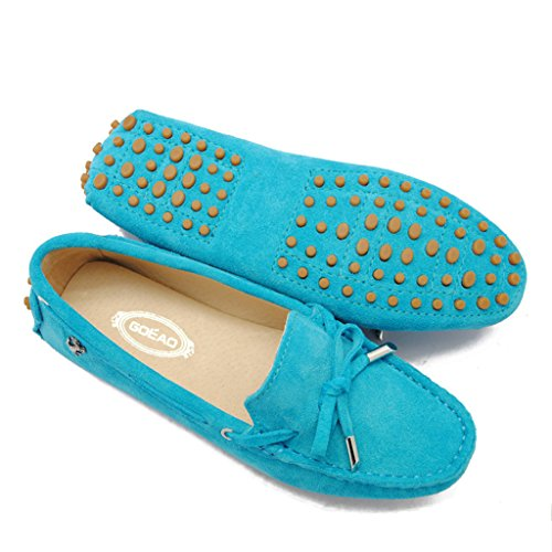Meijili Women's Suede Leather Loafer Flats Driving Moccasin Work Casual Peas Shoes Turq rJJGgkgPR