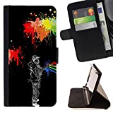 Momo Phone Case / Wallet Leather Case Cover With Card Slots - Neon Street Art Wall Grafiti Style Man Hat - Sony Xperia Z5 5.2 Inch (Not for Z5 Premium 5.5 Inch)