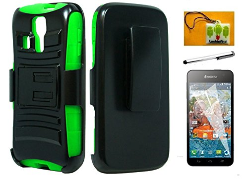LF 4 in 1 Bundle - Green Black Hybridy Dual Layer Case with Stand & Holster, Lf Stylus Pen, Screen Protector and Droid Wiper for (MetroPCS / T-Mobile / Boost) Kyocera Hydro Icon C6730 / Life C6530 (Holster Black / Green)