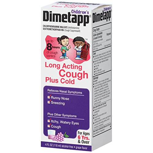 Dimetapp Children's Long Acting Cold and Antihistamine and Cough Suppressant Bottle, Grape Flavor, 4 fl. oz.