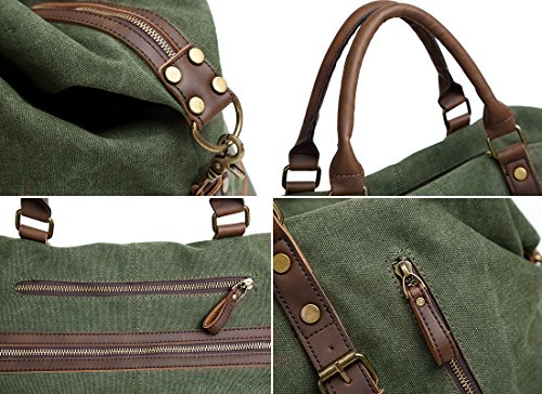 Oversized Travel Duffel Bag Canvas Leather Trim Overnight Bag Weekend Bag for Men and Women by Paraffin (Image #4)