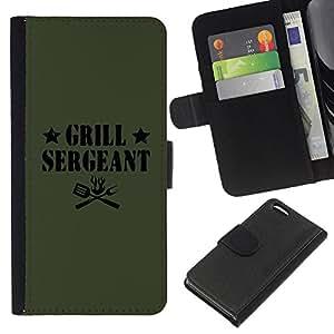 iBinBang / Flip Funda de Cuero Case Cover - Asar a la parrilla Cita sargento divertido etiqueta de los alimentos - Apple Iphone 5C
