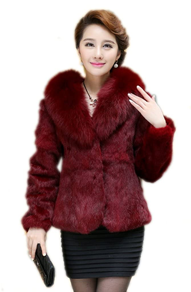 YR Lover Women's Winter Warm Real Rabbit Fur Coat Jacket With Fox Collar False