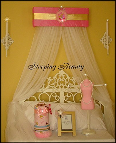Sleeping Beauty Ballerina (Sleeping Beauty Pink Gold Disney Princess Bed Canopy for Crib Nursery Bedroom So Zoey Boutique Free curtains included)