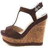 ویکالا · خرید  اصل اورجینال · خرید از آمازون · MERUMOTE Women's Wedges Sandals High Platform Open Toe Ankle Strap Shoes Dark Brown 11 US wekala · ویکالا