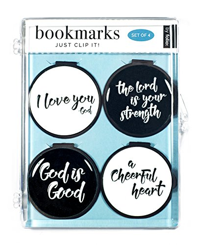 Just Clip it! Quote Bookmarks - (Set of 4 clip over the page markers) - I LOVE YOU, THE LORD IS YOUR STRENGTH, GOD IS GOOD, A CHEERFUL HEART BW Over Passage Set