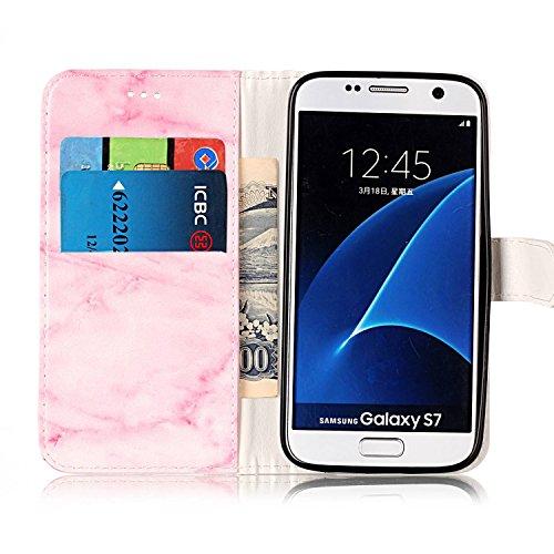 Funda Samsung Galaxy S7, Carcasa Samsung Galaxy S7, JAWSEU Samsung Galaxy S7 G930 Estuche Carcasa Diseño de Libro de Cuero Billetera Impresión PU Premium y TPU Silicona Case pare Samsung Galaxy S7 G93 Mármol Rosado