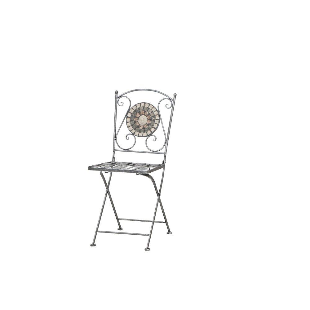 Siena Garden 380777 Liegestuhl Felina, 37x35x91cm, silber-schwarz, Gestell  Stahl, in silber-schwarz, 37x35x91cm, Fläche  Keramik in bunt, Mehrfarbig 86ba40