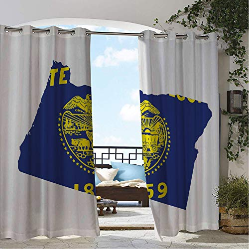 Linhomedecor Patio Waterproof Curtain Oregon Map and Waving Flag of US State Beaver State Heart Shape Shield The Union Cobalt Mustard White Porch Grommets Cabana Curtains 108 by 108 inch ()