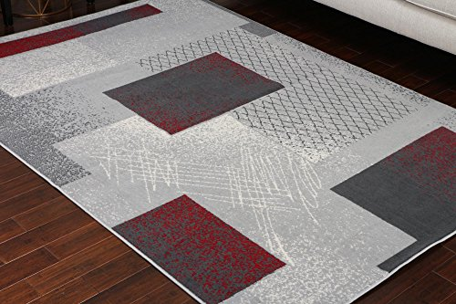 Rug Collection Rectangular Generations (Generations Collection 100% Olefin Contemporary Grey Silver Red White Modern Squares Area Olefin Rug Rugs 8003Silver 5'2 x 7'3)