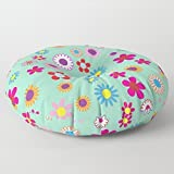Floor Pillow | Lounging Pillow | Stuffed Floor Pouf | Large Pillow | Decorative Pillow | Mod Floral Print | Round Pillow | Soft Floor Seating | Kids Room Furnishing
