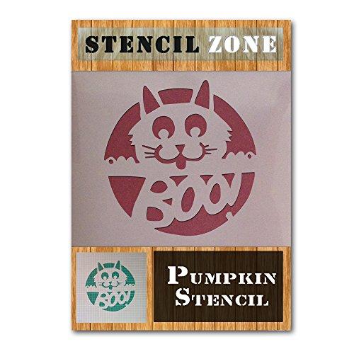 Cat Halloween Mylar Painting Pumpkin Wall Art Stencil Five (A4 Size Stencil - Small)