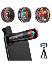 Selvim Phone Camera Lens Kits 4 in 1: 22X Telephoto Lens, 0.62X Wide Angle Lens, 235° Fisheye Lens, 25X Macro Lens, Compatible for iPhone 11 10 8 7 6 Plus X XS XR Samsung Galaxy (Not Pro Camera)