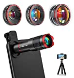 [Upgraded Version] Phone Camera Lens Kits 9 in 1: 22X Telephoto Lens, 235° Fisheye Lens, 0.62X Wide Angle Lens and 25X Macro Lens, Compatible for iPhone 11 10 8 7 6 Plus X XS XR Samsung Galaxy