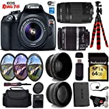 Canon EOS Rebel T6 DSLR Camera 18-55mm is II Lens & 75-300mm III Lens + UV FLD CPL Filter Kit + Wide Angle & Telephoto Lens + Camera Case + Tripod + Card Reader - International Version
