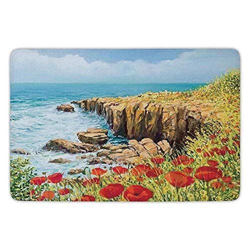 K0k2t0 Bathroom Bath Rug Kitchen Floor Mat Carpet,Flower,Coastal Seascape and Poppies on The Cliffs High Above The Bay Image Print,Red Peach Dark Green,Flannel Microfiber Non-Slip Soft Absorbent -