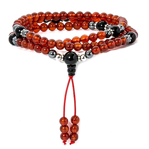 Praying Hands Cross Charm (Mala Beads • Carnelian Necklace • Buddhist Prayer Beaded Wrap Bracelet • Tibetan Gemstone Jewelry (Carnelian))