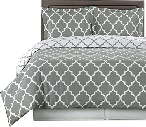 sheetsnthings Grey and White Meridian Reversible 2-Piece Twin/Twin XL Cover (Duvet-Cover-Set) 100% Cotton 250TC