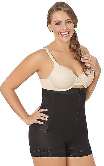 64405b12cafd0 Amazon.com  ShapEager Faja Colombiana Reductora Panty Thermal Zipper Girdle Plus  Shapewear Black  Clothing
