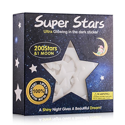 Glow In The Dark Stars Wall Ceiling Stickers Bedroom Decor With 200Pcs Stars And 1Bonus Moon For Kids Bedding Room Or Birthday Gift