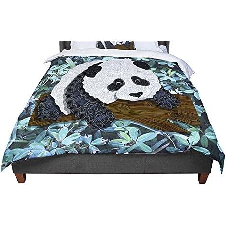 KESS InHouse Art Love Passion Panda Black White Queen Comforter 88 X 88