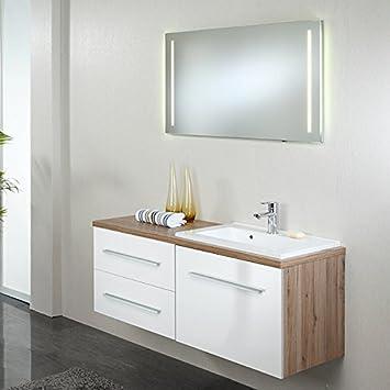 Exkl Badmobel Waschplatz Set Hochglanz Weiss Eiche Badezimmermobel