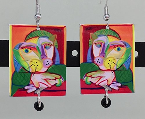 Cat Framed, Picasso Inspired Cat Earrings, Necklace Available, Metal and Glass, Original Art by Artist, Patti Siehien,