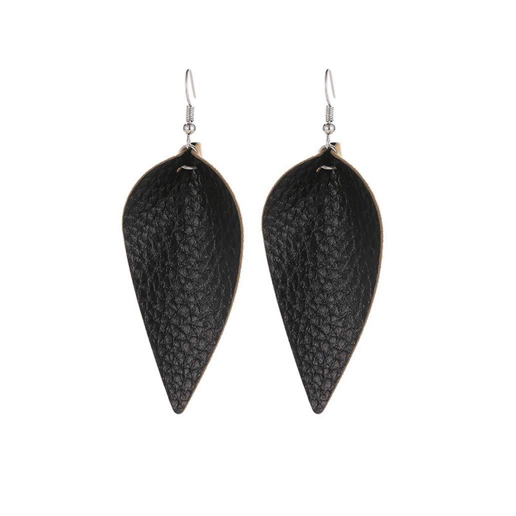 KISSFRIDAY Black Handmade Cutting Leaf Feather Earrings PU Leather Sequins Bohemia Water Drop Dangle Earring