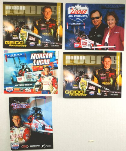 NHRA - Full Throttle Drag Series - Morgan Lucas - Top Fuel Dragster - Lucas Oil / Geico Powersports / K&N / Mac Tools /- 5 Promo Cards - Out of Print - Collectible - Nhra Mac Tools